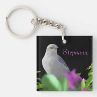 A Northern Mocking Bird with Purple & Green Leaves Keychain