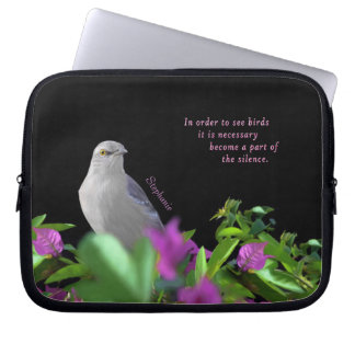 A Northern Mocking Bird with Purple & Green Leaves Laptop Sleeve