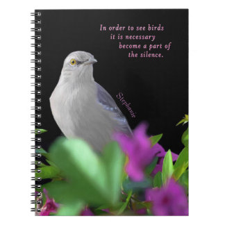 A Northern Mocking Bird with Purple & Green Leaves Notebook