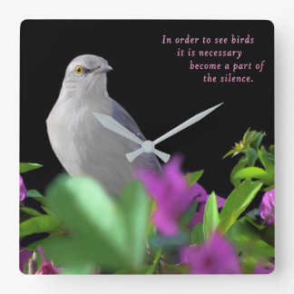 A Northern Mocking Bird with Purple & Green Leaves Square Wall Clock