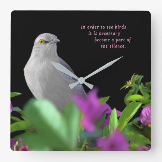 A Northern Mockingbird on a Black Background Square Wall Clock