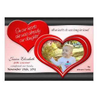 À nos coeurs - annonces rouges d'adoption de coeur cartons d'invitation