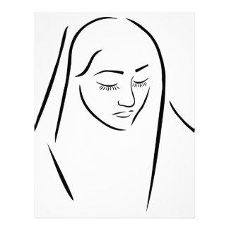 A nun wearing a veil with eyes closed letterhead design