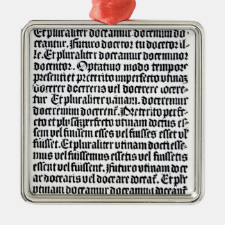 A page of the 'Grammaire Latine' Silver-Colored Square Ornament
