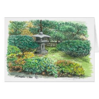 A pagoda in an Asian garden Card