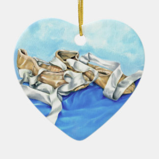 A Pair of Ballet Shoes Ceramic Heart Ornament