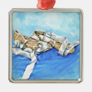 A Pair of Ballet Shoes Silver-Colored Square Ornament