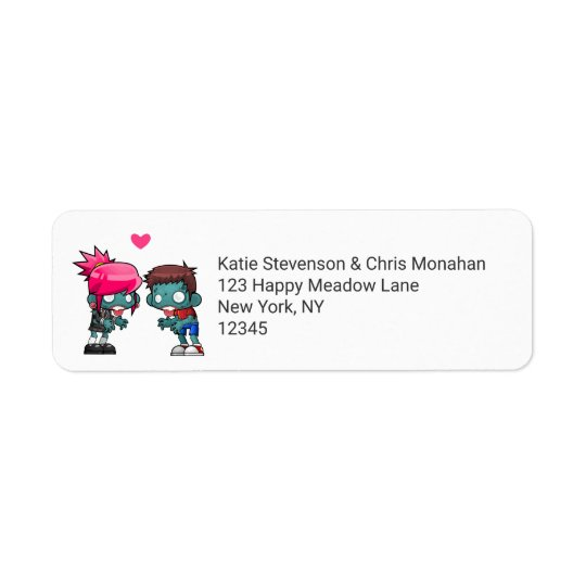 A Pair of Cute Zombies in Love Return Address Label