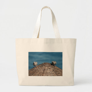 A Pair Of Doves On A Woven Sun Parasol Large Tote Bag