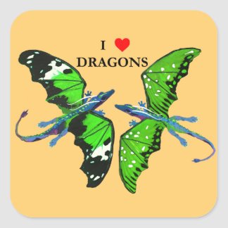 A Pair of Dragons Square Sticker