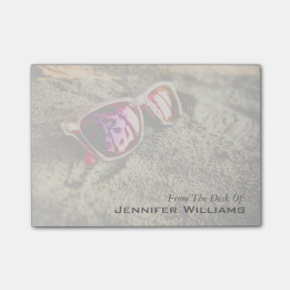 A Pair Of Fashionable Sunglasses On The Beach Sticky Notes