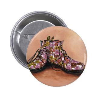 A Pair of Favourite Floral Boots 2 Inch Round Button