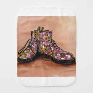 A Pair of Favourite Floral Boots Baby Burp Cloths