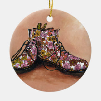 A Pair of Favourite Floral Boots Ceramic Ornament