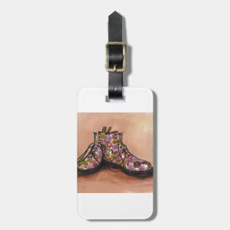 A Pair of Floral Dr Martins Boots Luggage Tag