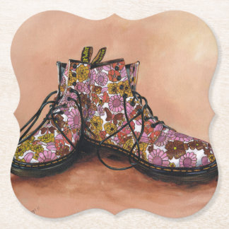 A Pair of Floral Dr Martins Boots Paper Coaster