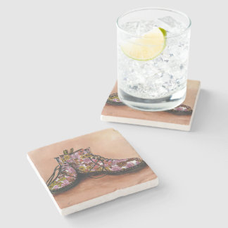 A Pair of Floral Dr Martins Boots Stone Coaster