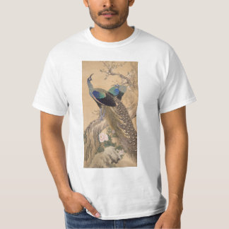 A Pair of Peacocks in Spring by Imao Keinen T-Shirt