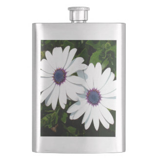 A Pair of Pristine White African Daisies Hip Flask