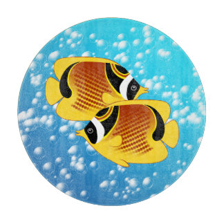 A Pair of Raccoon Butterflyfish in Bubbly Water Cutting Board