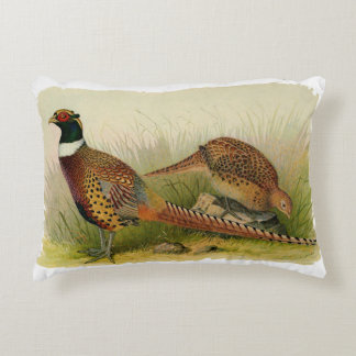 A pair of Ring necked pheasants in a grassy field Decorative Pillow