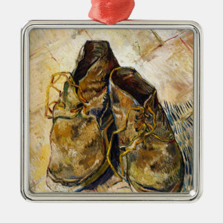 A Pair of Shoes Vincent van Gogh fine art painting Silver-Colored Square Ornament