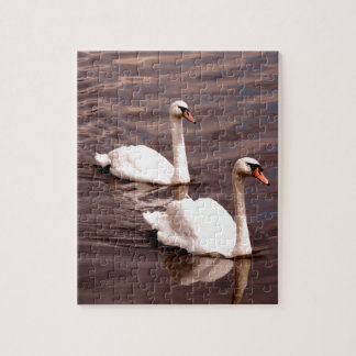A pair of Swans on the lake Jigsaw Puzzle
