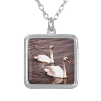 A pair of Swans on the lake Silver Plated Necklace