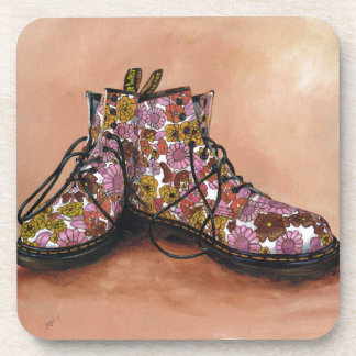 A Pair of Treasured Flowery Boots Coaster