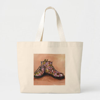 A Pair of Treasured Flowery Boots Large Tote Bag