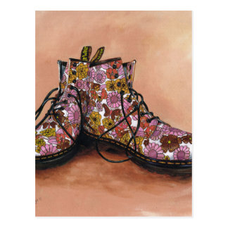 A Pair of Treasured Flowery Boots Postcard