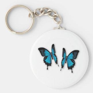 A Pair of Tropical Blue Butterflies Keychain