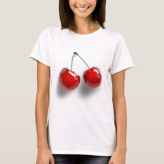 A Pair of Two Red Shinny Cherries on their Stem T-Shirt