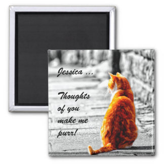 A-PAL Tinted Orange Tabby Cat Painting Custom Square Magnet