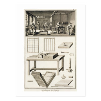 A paper marbler's workshop and tools, from the 'En Postcard