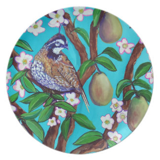 A Partridge In A Blooming Pear Tree Melamine Plate
