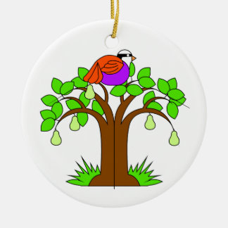 A Partridige in a Pear Tree Round Ceramic Ornament