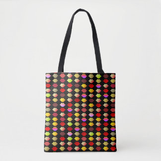 a pattern of color lips . colorful mouths tote bag