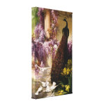 A Peacock and Doves in a Garden Wrapped Canvas Gallery Wrap Canvas