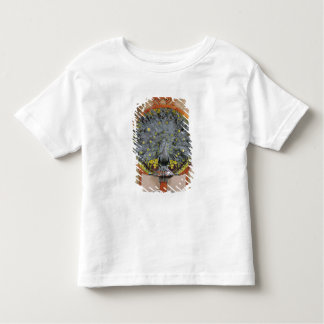 A peacock from the central panel of a mural t-shirt