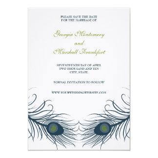 "A Peacock Wedding Save The Date Card 5"" X 7"" Invitation Card"