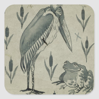 A Pelican and Frog in Conversation (w/c on paper) Square Sticker