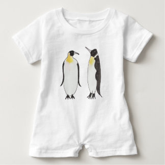 A Penguin Couple  Ink Drawing Baby Romper