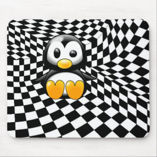 A Penguin's Checkers Nightmare Mouse Pad