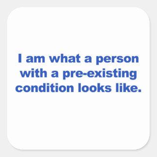 A person with a pre-existing condition square sticker