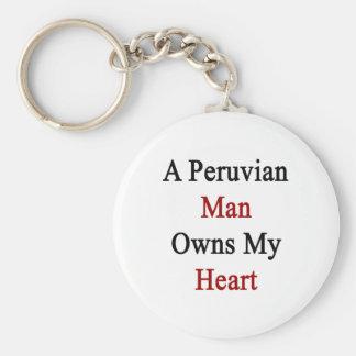 A Peruvian Man Owns My Heart Keychain