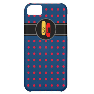 à petits pois rouge et vos initiales coque iPhone 5C