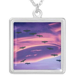 A photo composite of Sandhill cranes in flight Square Pendant Necklace