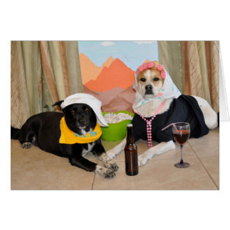 A photo of 2 dogs posing as an anniversary couple card