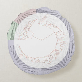 A phylogenetic tree of life Chart Round Pillow